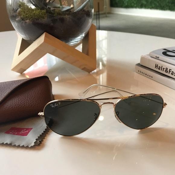 Ray-Ban Accessories   Ray Ban Polarized Goldgreen Aviator Sunglasses ... 49ed8e0e42a7